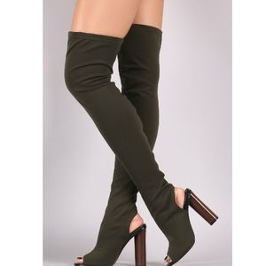 🆕Gracie Olive Green Peep Toe Over the Knee Boots