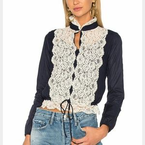 Nwt See by Chloé navy lace blouse 36/small
