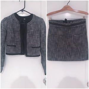 H&M studded skirt suit