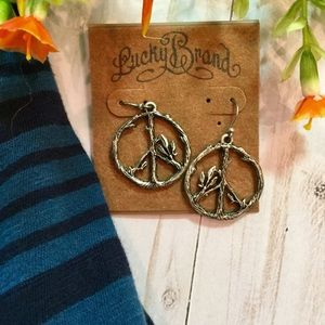 NWT, Lucky Brand Peace Sign Earrings, Silver