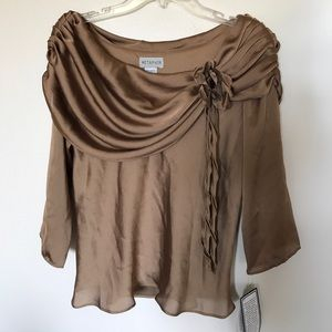 Metaphor gold draped neck top. Off shoulder look.