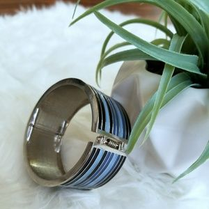 Blue black and silvee bangle bracelet cuff