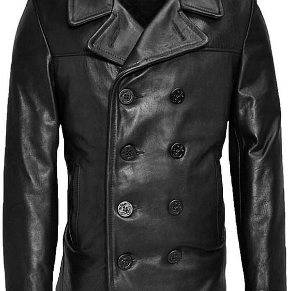 2dc52dc4b3b SCHOTT NYC 740N BLACK LEATHER PEA COAT 40
