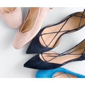 🆕 J.Crew Navy Suede Lace Up Flats