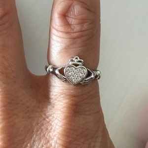 Jewelry - Sterling Silver Claddagh Clear CZ Heart Ring