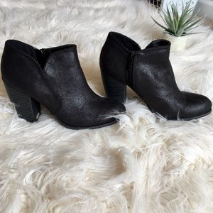 Black Textured Ankle Booties with Stacked Heel