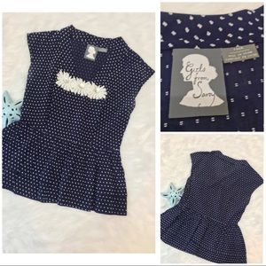 Anthropologie Girls From Savoy Blouse sz 4 navy