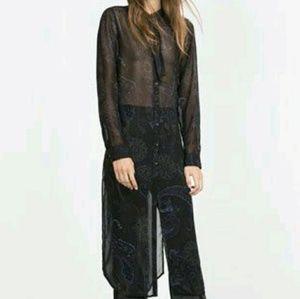 ZARA long printed paisley tunic top