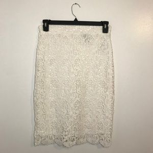 Forever 21 White Lace Pencil Skirt