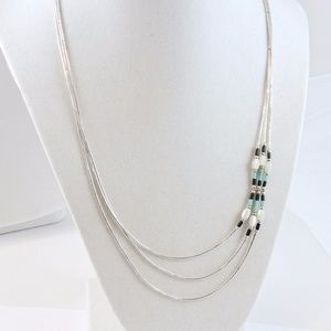 Jewelry - Sterling Silver, Turquoise, and Pearl Necklace.