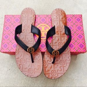 {Tory Burch} Black Leather Thora Sandals