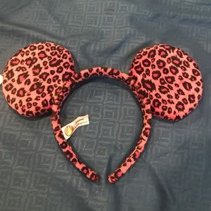 Hot pink leopard print Mickey Mouse ears