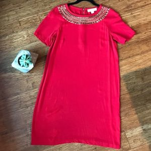 Michael Kors Red Shift Dress with Gold Stud Detail