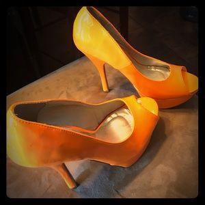 Shoes - Orange platform heels