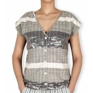 Ace & Jig Tops - Ace & Jig metallic grey button down top L