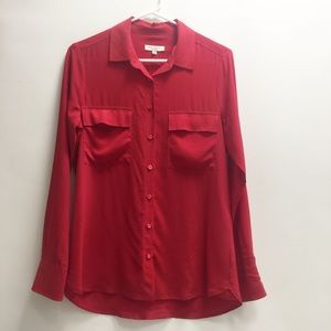 Equipment Signature Red Blouse Size Small