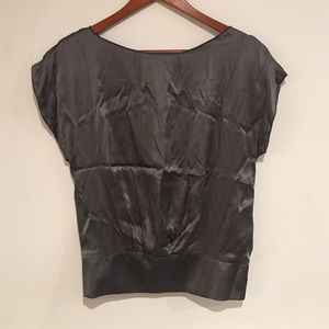 Matty M charcoal grey silk charmeuse blouse top S