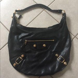 Balenciaga Black Leather Hobo Bag Arena Chevre