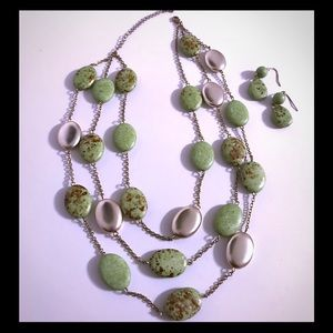Jewelry - 3 Tiered Green Stone Necklace & Matching Earrings