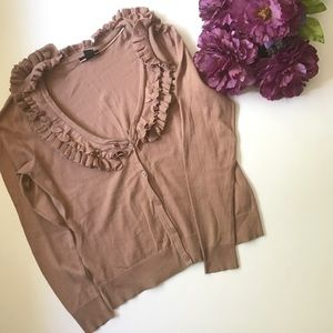 H&M tan ruffled cardigan sweater size M