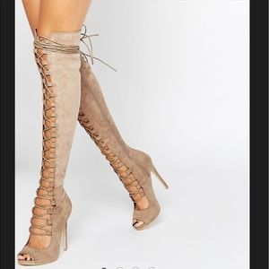 Over the knee lace up boots suede taupe