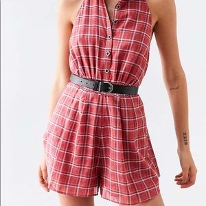 Cooperative Plaid Collared Romper Sz. XS NWT