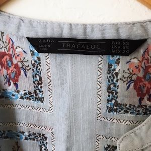 Zara TRF Blue Red Floral Boho Chic Peasant Top