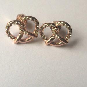 Marc Jacobs rose gold pretzel earrings