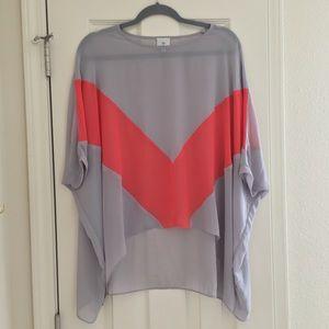 """hot & delicious"" gray coral sheer blouse"