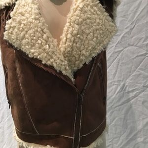 Faux suede and sheepskin vest.