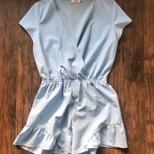 Tobi Light Blue Short Sleeve Romper
