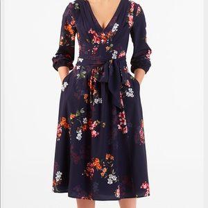 Pleated Floral Print Crepe Midi Dress