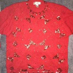 Vintage Victoria Woman Red Sequin Swearer 1X