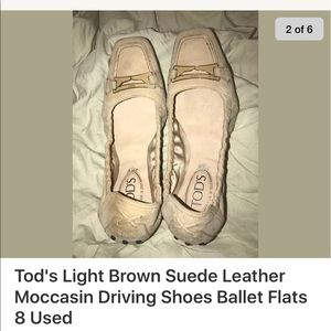 TOD'S Tan Suede Driving Moccasin Ballet Flats 8