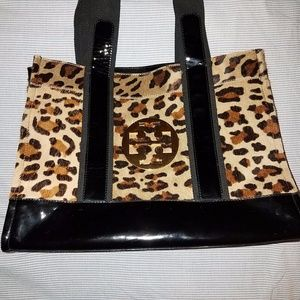 Tory Burch Leopard Calf Hair Patent Leather Tote