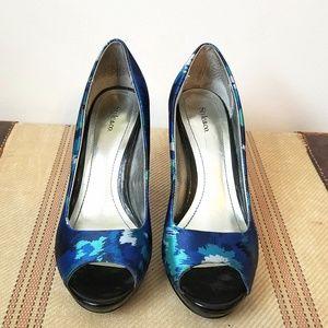 Style & Co Blue and Aqua Print Peep Pumps