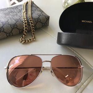 Michael Kors Rose Gold Aviator Sunglasses