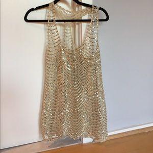 Victoria Secret Gold Sequins Tank/Cover Up