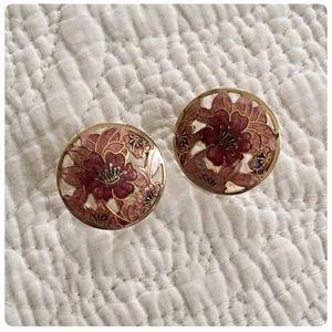 Large vintage goldtone & enamel floral earrings