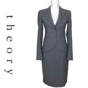 Theory Gray Wool Blend Blazer Skirt Suit Set