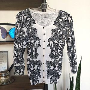 Printed Black Lace Cardigan