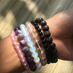 Lava Bead Crystal Bracelet •