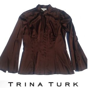Trina Turk silk key hole brown blouse with buttons