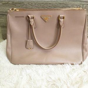 Large Prada Cammeo Saffiano Lux Double Zip Bag