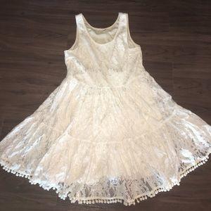 Pom-Pom fringe cream lace dress