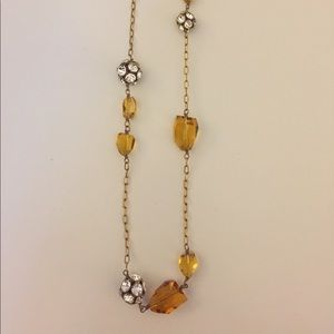J CREW Gold Drop Necklace with Beads
