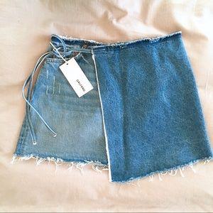 GRLFRND Denim Ella Reconstructed Wrap Skirt