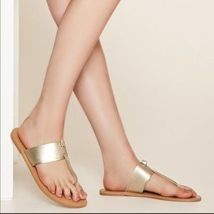 Forever 21 Gold thong flat sandals vegan leather