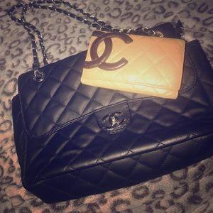 Handbags - Black Handbag with Tan Wallet