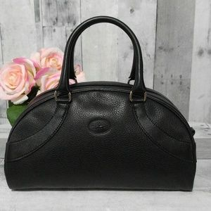 Black leather Longchamp Bowling Satchel